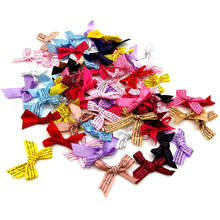50/100pcs/lot Handmade DIY Small Polyester Satin ribbon Bow tie Wedding Scrapbooking Embellishment Crafts Accessory