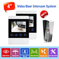 "Wholesale Wired Touch Button 4"" Color Monitor English/Russian Wired Video Door Phone Intercom Entry System,Free Shipping"