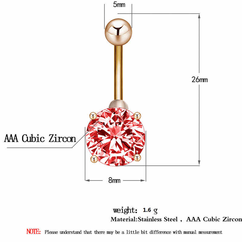 Cxwind זהב צבע טבור טבור טבעות פירסינג אדום/כחול/ירוק/כהה כחול AAA זירקון סגנון גביש גוף טבעת תכשיטים