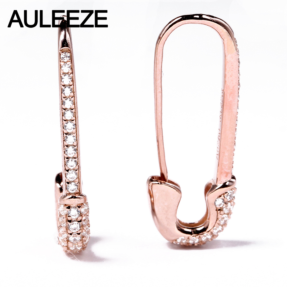 AULEEZE Unique Solid 18K Rose Gold Pin Earrings For Women 0 37cttw Real Natural Diamond Drop