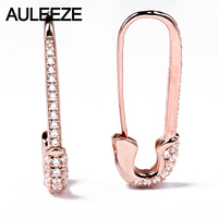 AULEEZE Unique Solid 18K Rose Gold Pin Earrings For Women 0.37cttw Real Natural Diamond Drop Earrings Fine Jewelry