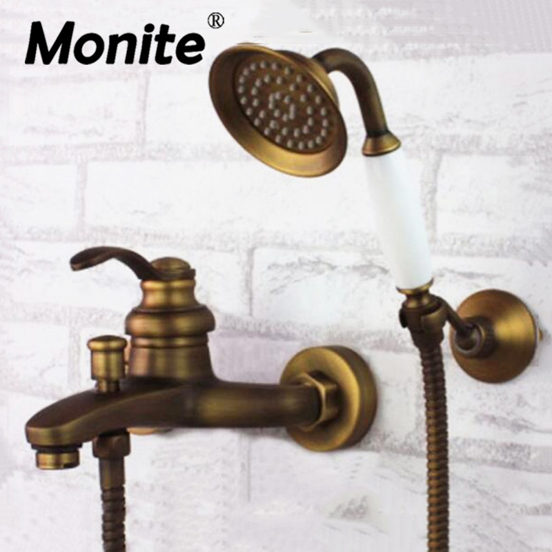 Wall Mounted Antique brass shower set head and hand shower bathroom double handle dual hole shower faucets