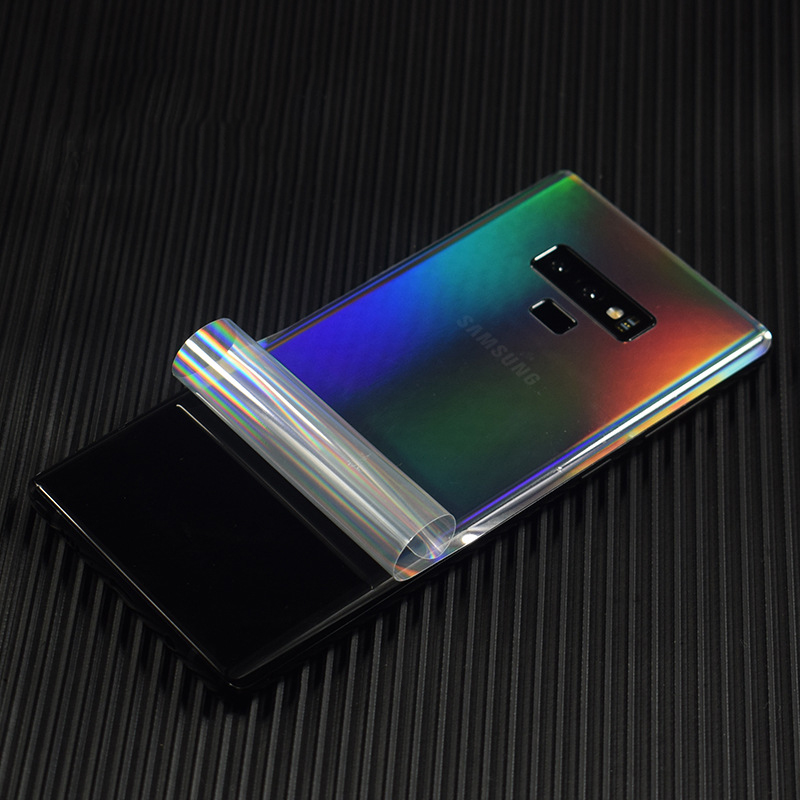 Aurora Gradient Transparent For <font><b>Samsung</b></font> <font><b>Galaxy</b></font> Note 10 9 <font><b>S10</b></font> S9 S8 Plus S7 Mobile Decorative Protector Note9 Back Film <font><b>Stickers</b></font> image