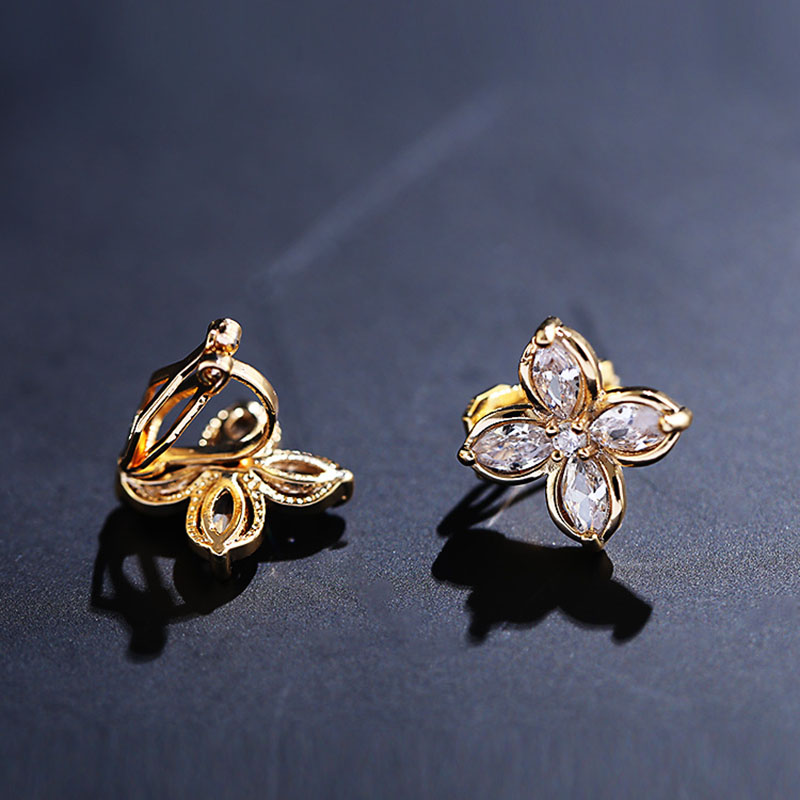Platinum Plated or Rose Gold Plated 2 Strands Long Tassel AAA CZ Clip on Earrings Non Piercing for Women