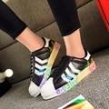 Unisex fashion shoes chaussure Lace up Graffiti women shoes classic white shoes breathable casual Women shoes 2016