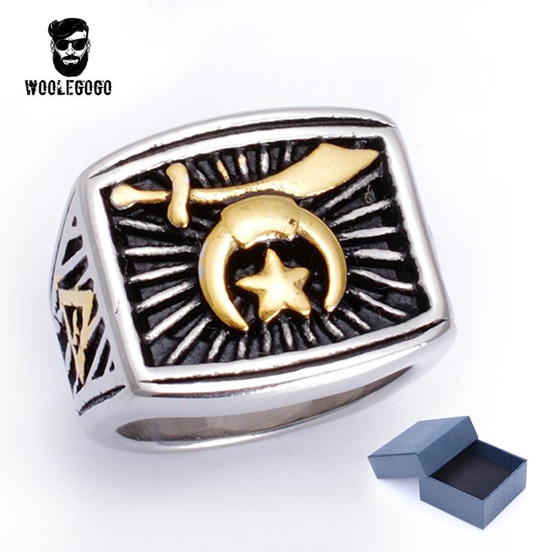 Для мужчин Золотая Звезда Луна религиозных кольца мусульманское меч имам 316L Нержавеющаясталь панк-байкер кольца Для мужчин s серебряные у... ...