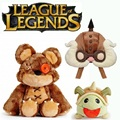 LOL Plush Doll Toys Hot LOL Tibbers Armored Poro Corki Hat Plush Toys Kawaii Annie's Bear Tibbers Poro Stuffed Toys for Children