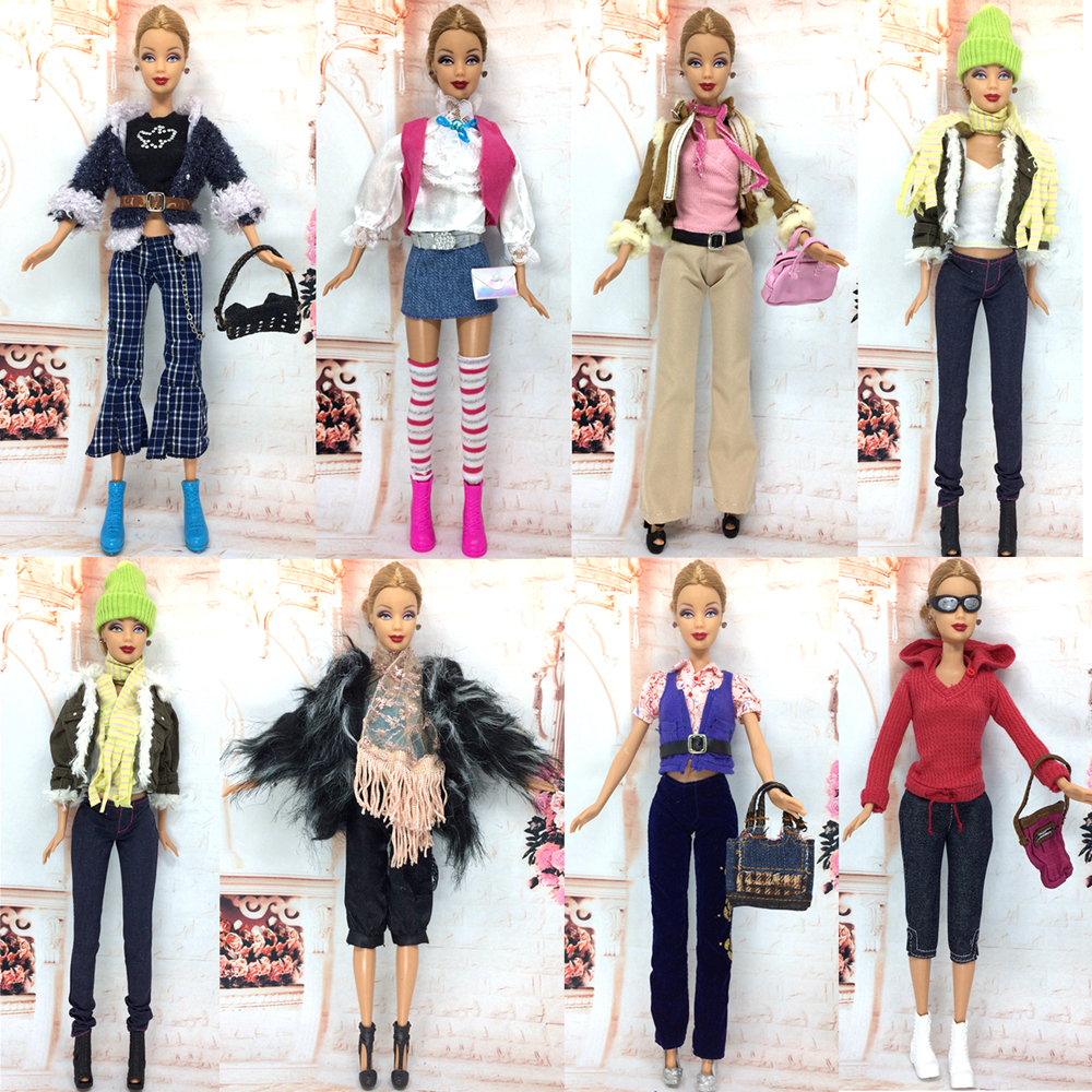 Buy nk randomly 3 set lot mix doll handmade clothes winter wear fashion dress Mla winter style fashion set