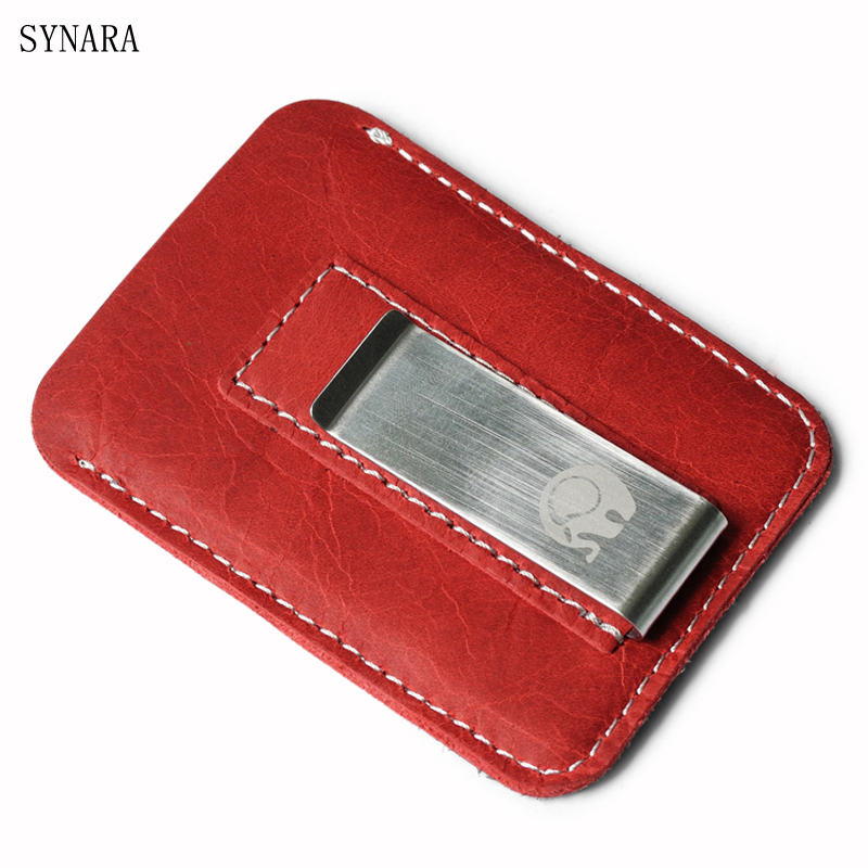цена на New arrival Genuine Leather Fashion slim Women money clip wallet with card slots small men purse ladies cash clamp 4 colors