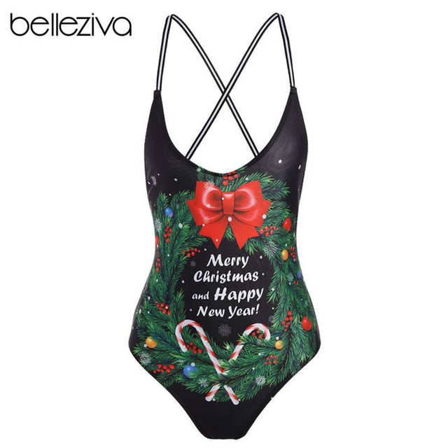 e0678dd037b64 Belleziva One-Piece Maillot De Bain Femme Bathing Suit Women Swimsuit  Christmas Happy New Year Pattern Print Backless Beach Wear