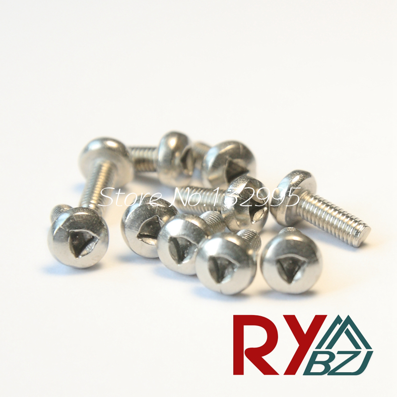100pcs/lot M3/M4*6/8/10/12/16 Stainless Steel A2 Triangle drive Pan Head Anti-theft Screw, Pan Head triangle socket screw