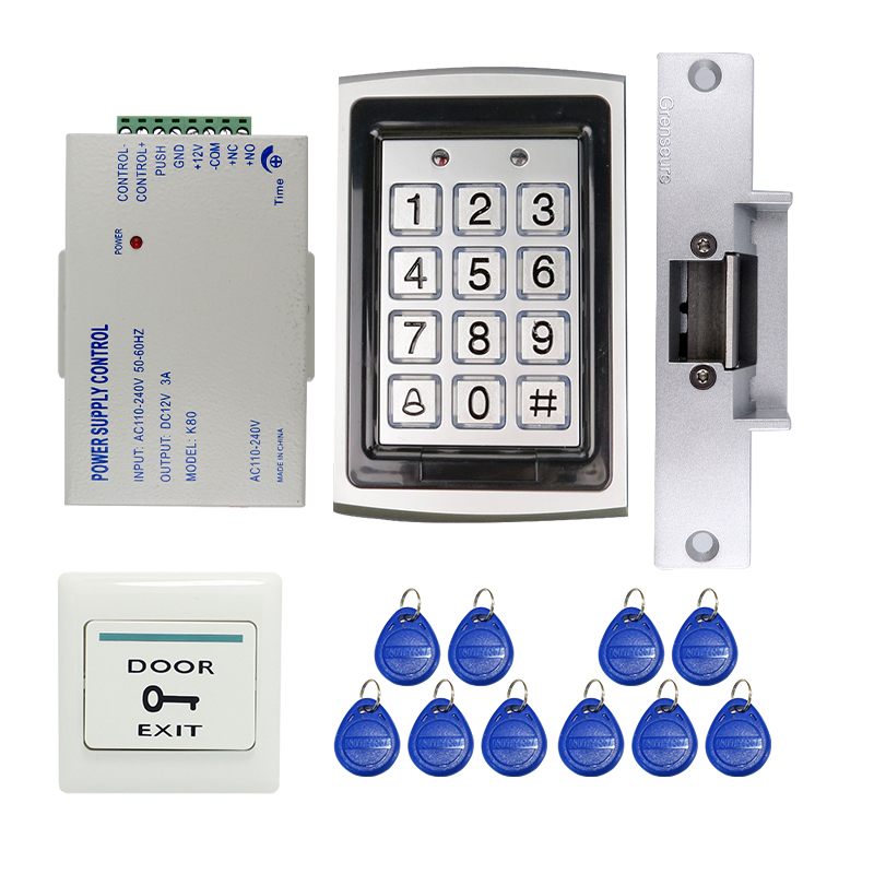 Wholesale Metal RFID Reader Entry Code Keypad RFID Door Access Control Kit + Electric Strike Door Lock In Stock FREE SHIPPING raykube glass door access control kit electric bolt lock touch metal rfid reader access control keypad frameless glass door