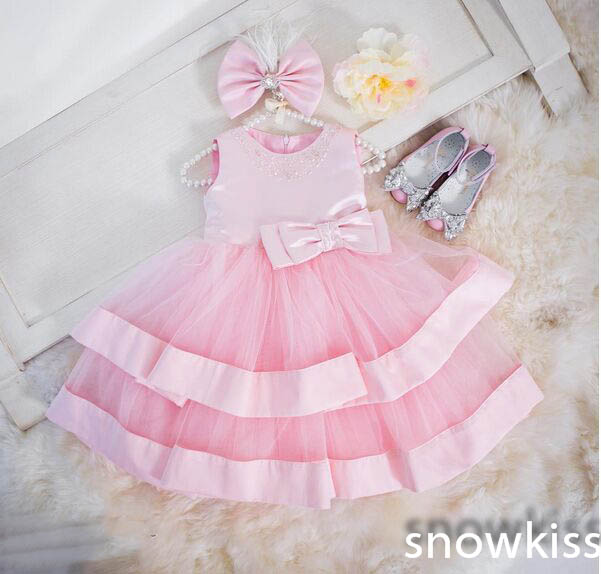 2017 In stock pink tulle and satin princess birthday dress baby girl dress O-neck beaded rhinestone A-line with bow flower rocks