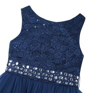 Image 4 - IEFiEL אלגנטי נצנצים ילדים פעוט פרח בנות תחרה שמלת תחרות חתונה כלה ילדי שושבינה נסיכת טול שמלה