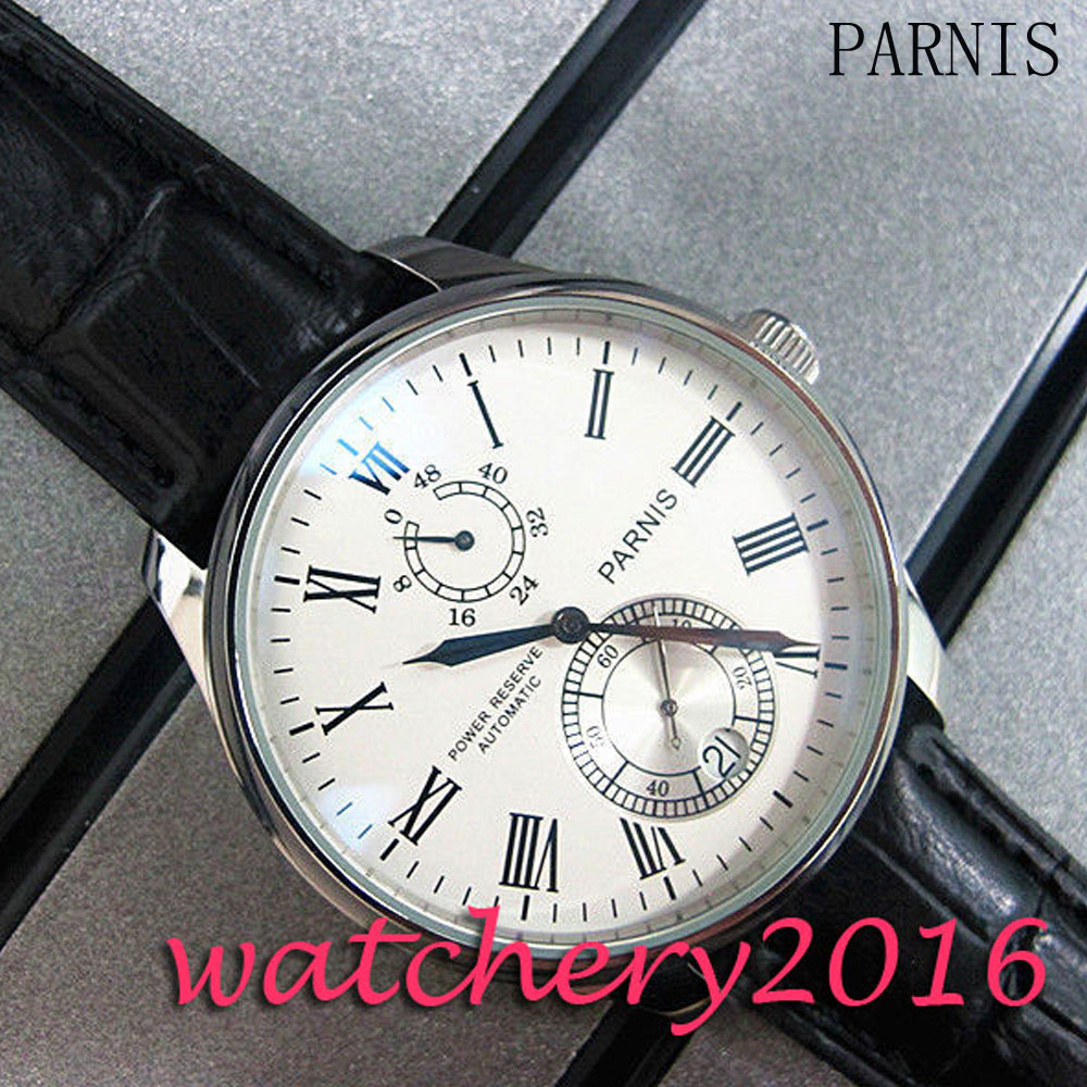 Classical Parnis 43mm white dial date window power reserve Automatic movement Men's Watch plantronics voyager edge white bluetooth гарнитура