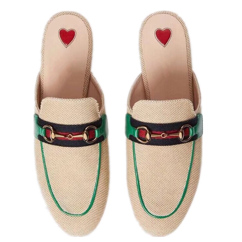 New Fashion Hemp Women Mules Round Toe Flat Female Slides on Casual Shoes Outside Slippers Ladies Metal Dec Green Red ShoesNew Fashion Hemp Women Mules Round Toe Flat Female Slides on Casual Shoes Outside Slippers Ladies Metal Dec Green Red Shoes