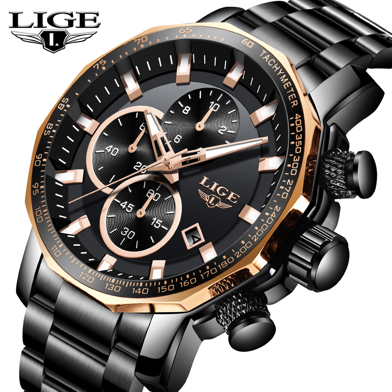 LIGE Mens Watches Military Stainless Steel  Business Brand Watch Waterproof Chronograph Fashion Sports Quartz Clock Mens WatchLIGE Mens Watches Military Stainless Steel  Business Brand Watch Waterproof Chronograph Fashion Sports Quartz Clock Mens Watch