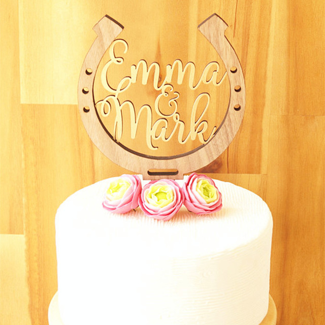 Rustic Horseshoe Cake Topper Personalized Wedding Cake Toppers ...