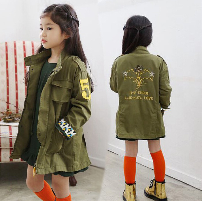 Girls Jacket Children Clothing kids spring&autumn Child 2017 Baby Outerwear Girl Trench Coat Embroidery Army Green Coats Jackets 2018 girls spring autumn trench jackets coats new children s zipper hooded long jacket coat kids windbreaker outerwear clothing