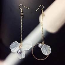 2018 Fashion Long Earrings Wild Personality Flower Tassel Asymmetric Earrings Jewelry Wholesale Flowers Earrings(China)