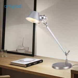 Image 3 - Artpad Relatiegeschenk Fashion Design Led Werk Lamp Voor Desktop Aluminium E27 Flexibele Verstelbare Oogzorg Studie Tafellamp Zilver