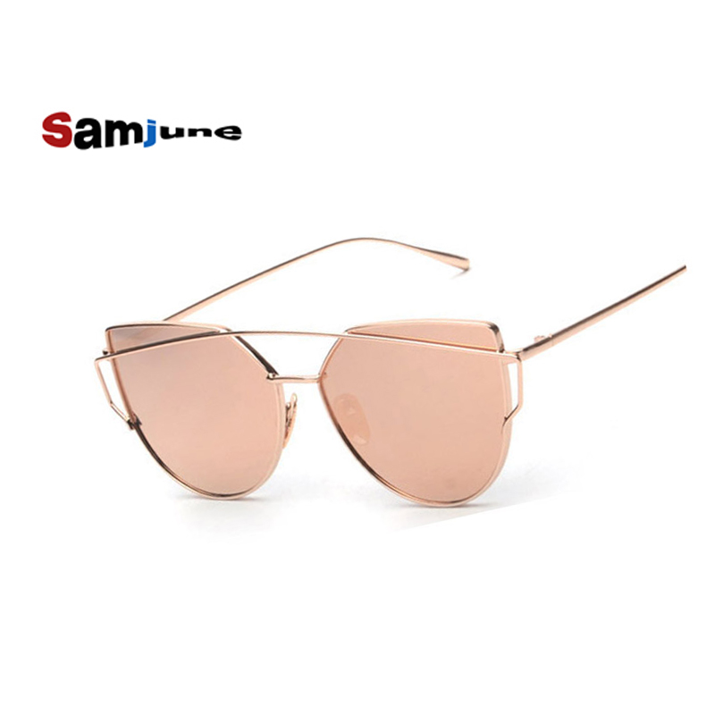 Samjune Cat-Eye-Sunglasses Mirror Oculos Pink Female Vintage Women Ladies Brand Designer