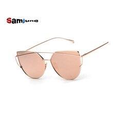 732073f5bc5744 Samjune Roze vintage Spiegel vrouwelijke Vrouwen Cat Eye Zonnebril Merk  Designer dames zonnebril voor vrouwen Oculos Feminino