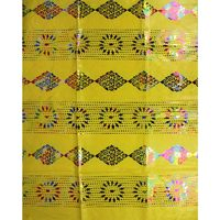 E82yellow Free shipping (5yards/pc) white African bazin lace fabric with fashion colorful gold printed pattern for party dress