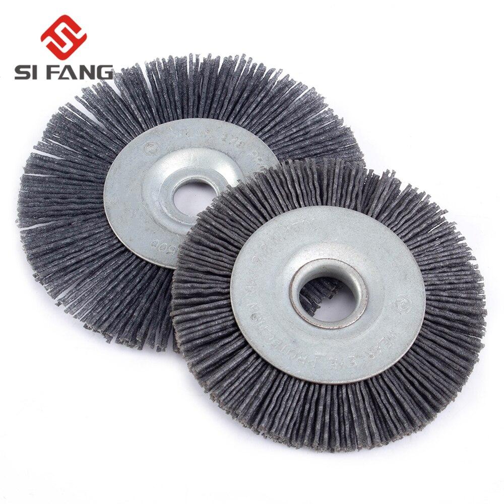 90mm/110mm Abrasive Wire Grinding Flower Head Abrasive Nylon Wheel Woodwork Polishing Brush Bench Grinder For Wood Furniture