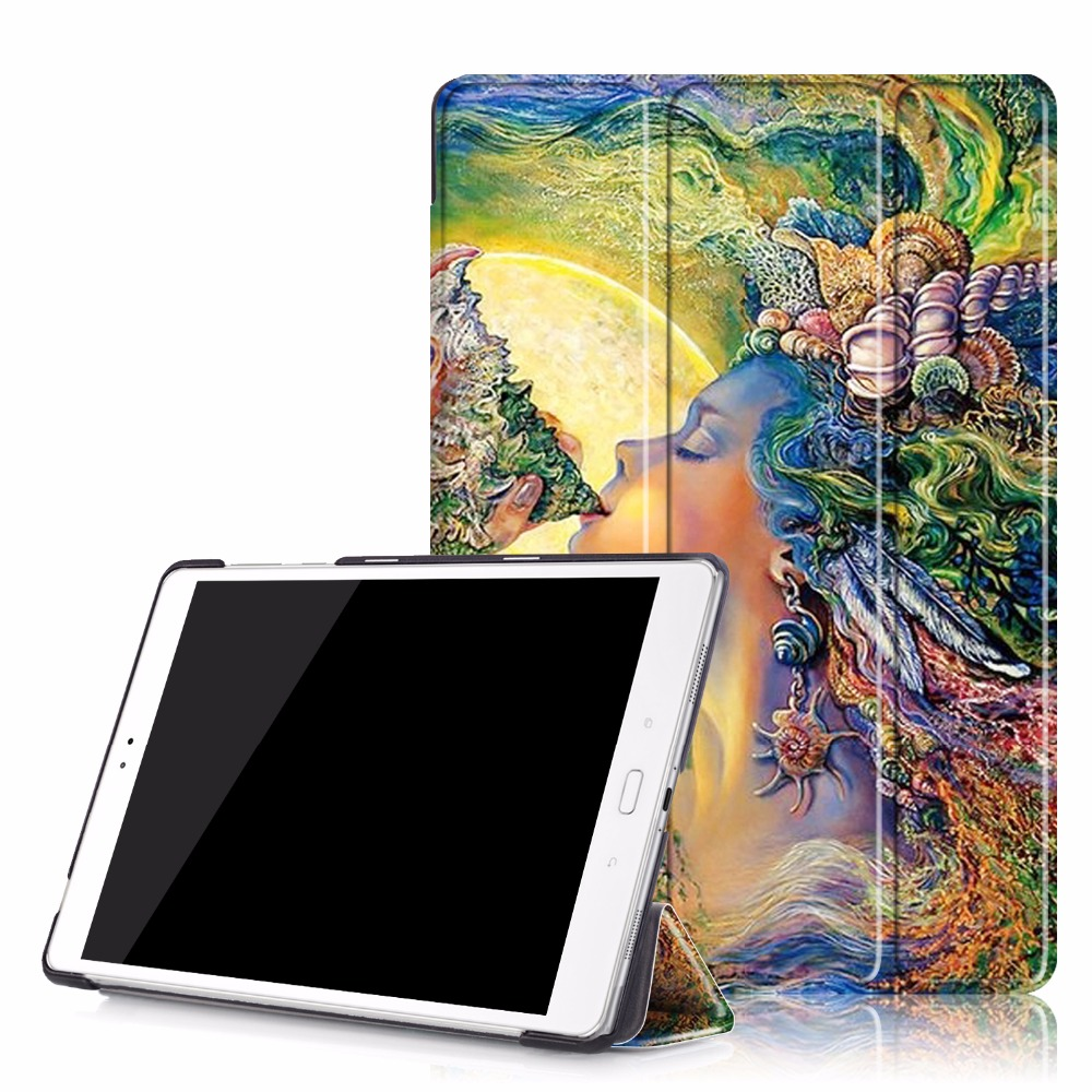 3 Folding Painting PU Leather Book Cover Flatbed Shell Fundas Case For Asus ZenPad 3S 10 Z500M 9.7 inch Tablet Stand With Magnet