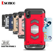 Shockproof Armor Card Holder Case for iPhone X 7 8 6 6 s 7 Plus 7P 8P Magnetic Phone Cases for iPhone 7 8 Plus 6 Plus Case(China)