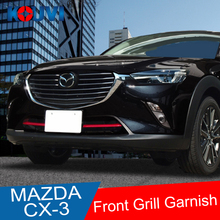 цена на 2pcs ABS Chrome Front Grill Cover Trims Strip Accessories For Mazda CX-3 CX3 2016 2017 2018