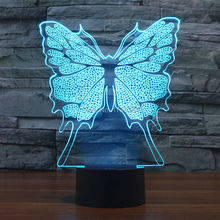 Free Ship Glowing 7 Color Changing Insect Butterfly 3D Acrylic LED Night Light USB LED Decorative Table Lamp Baby Desk Lighting