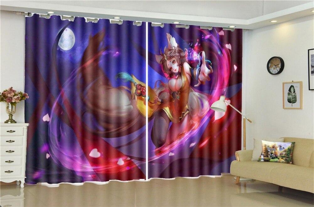 3d impression rideau pour salon prix 3d bande dessinée Sexy fille décorative intérieur beaux rideaux occultants