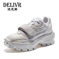Delivr/белые кроссовки для мужчин; Новинка 2019 года; сезон весна; ulzzang zapatillas mujer Plataforma Clunky; кроссовки на толстой подошве; Мужская обувь для папы