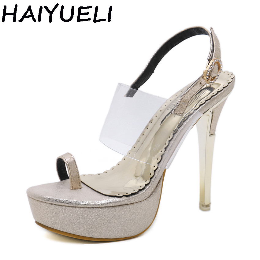 fbc3b887e0dc AIYKAZYSDL Summer Women Ultra Very High Heel Ring Toe Clear Transparent  Strap Sandals Crystal Metal Heel