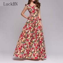 все цены на Summer Women Vintage Print Dress Elegant Square Neck Fit Flare Long Dress Boho Fashion Sleeveless Floral Dresses Female Party онлайн