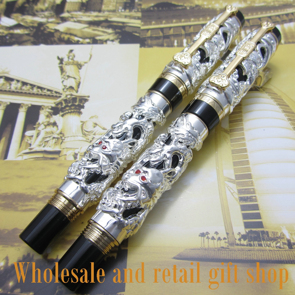 2pcs pen Jinhao Dragon Phoenix Heavy Silver Chinese Classical Luck Clip 2pcs pen Jinhao Dragon Phoenix Heavy Silver Chinese Classical Luck Clip