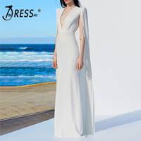 INDRESSME 2018 New Women V Neck Cloak Sleeve Long Wedding Evening Party Bandage Dresses Maxi Gown 2018 New Fashion Dress
