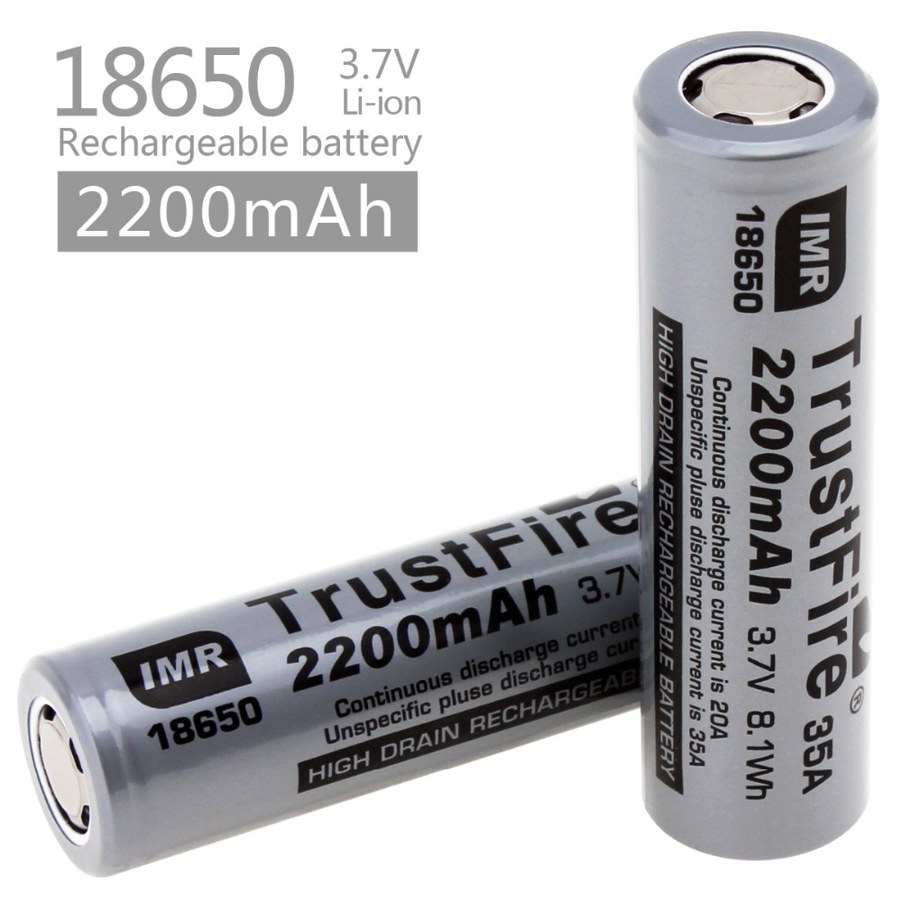 2pc TrustFire IMR 18650 2200mah 35A 3.7V Rechargeable Li-ion Battery bateria 18650 with Protected Driver Board For Flashlight стоимость