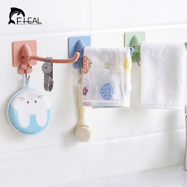 FHEAL Multi Double Hook Towel Hang Decorative Holder Wall Hook Kitchen  Bathroom Organizer Rotating Storage Rack