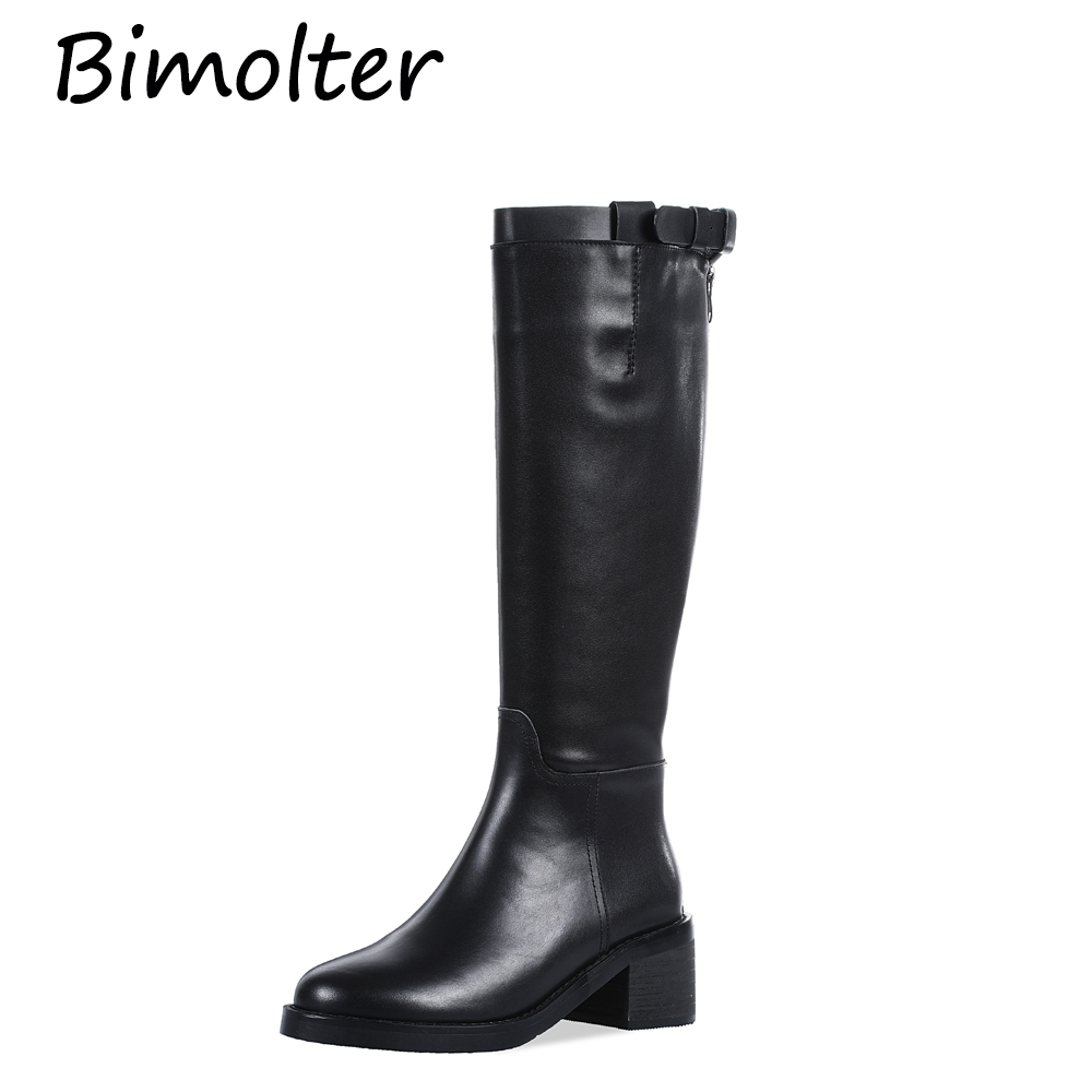Bimolter Russian Style Genuine Leather Med Heels Shoes Round Toe Knee High Boots Warm Short Plush Long Boots Big Size 43 NB121 in Knee High Boots from Shoes