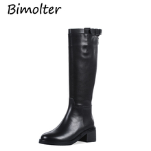 Bimolter Russian Style Genuine Leather Med Heels Shoes Round Toe Knee High Boots Warm Short Plush Long Boots  Big Size 43 NB121