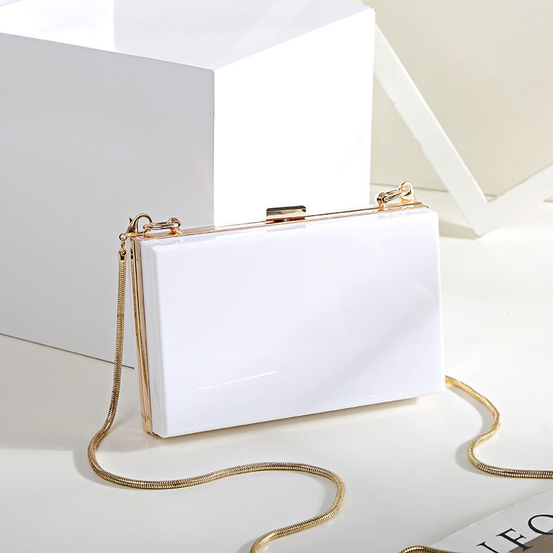 Clutch-Chain Prom-Purse Shoulder-Bags Evening-Bags Hard Acrylic Wedding-Party White Fashion