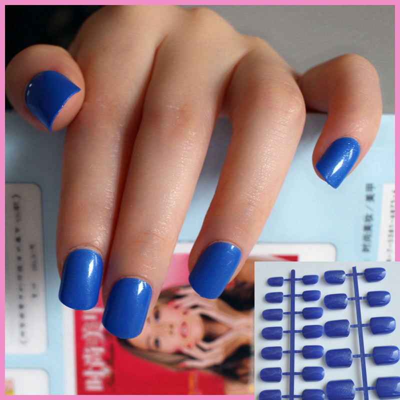 24pcs Shine Diamond Blue Candy Lady False Fake Nails Glitter Sparkle ...