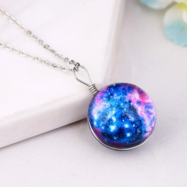 Star universe colorful flower glass ball necklace transparent star universe colorful flower glass ball necklace transparent ball pendant wish jewellery st patricks day aloadofball Images