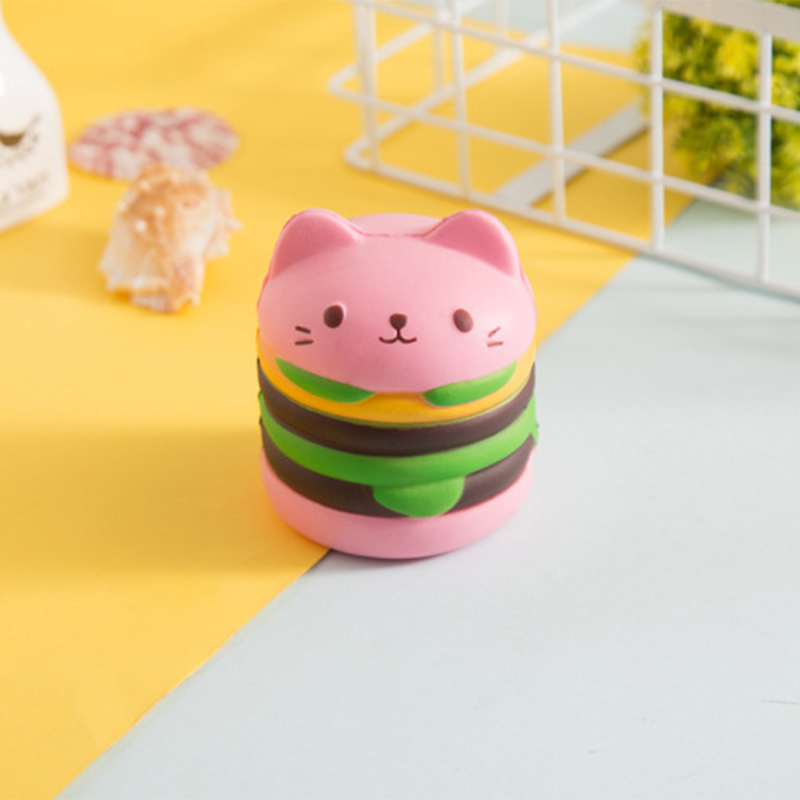 Jumbo Yummy Hamburger Cat Bear Squishy 9.5CM Soft Squeeze Slow Rising Cute Phone Straps DIY Decor Bread Kids Toy Gift