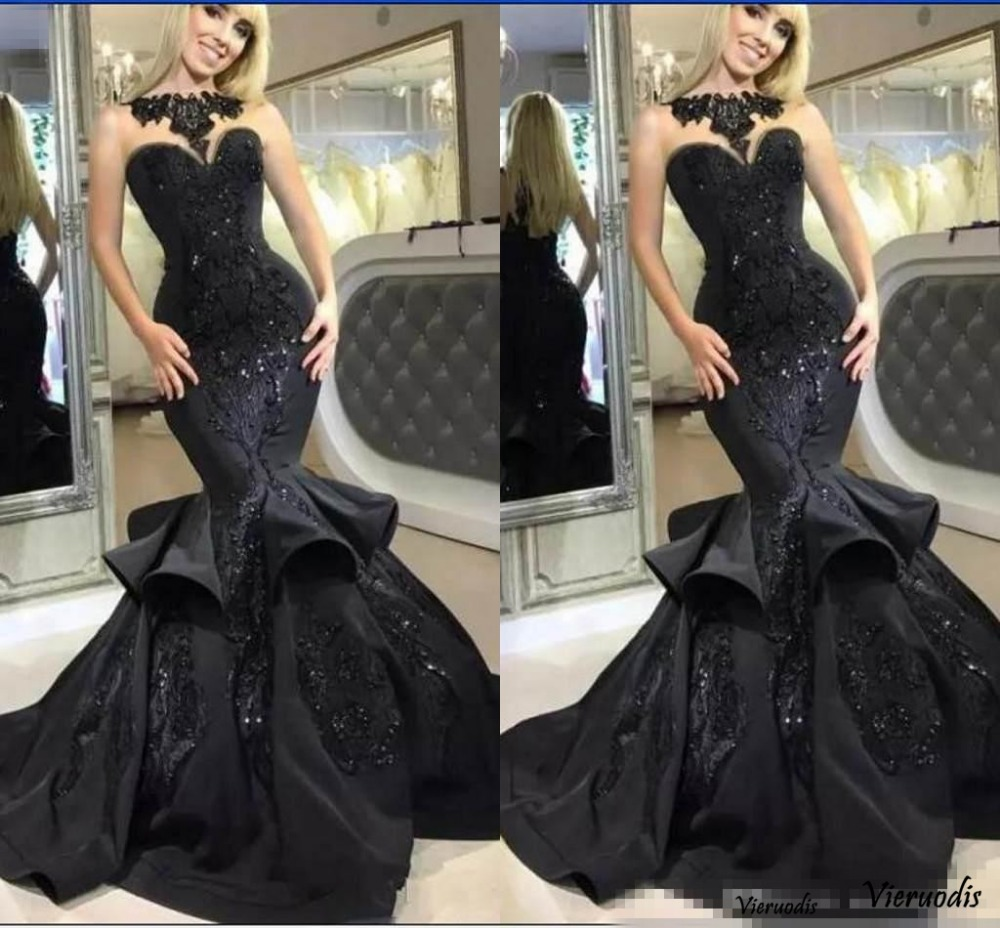 2018 Black Ruffle Mermaid Prom   Dresses   With Lace Appliques Sleeveless Sweetheart Sexy   Evening     Dress   Custom Made Party   Dress   For