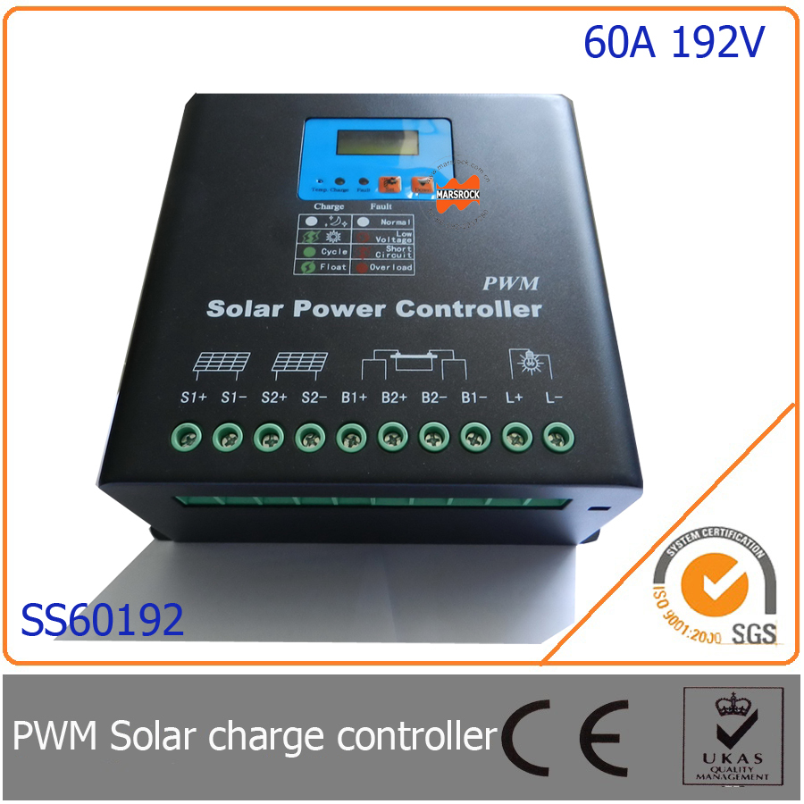 60A 192V PWM Solar Charge Controller with LED&LCD Display, Auto-Identification Voltage, MCU design with excellent performance