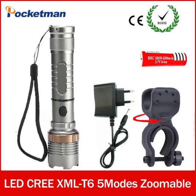 Высокий Яркий СВЕТОДИОДНЫЙ фонарик CREE XM-L T6 СВЕТОДИОДНЫЙ zaklamp Велосипедов Света + 18650 + зарядное Устройство + Факел Держатель лампе tactique